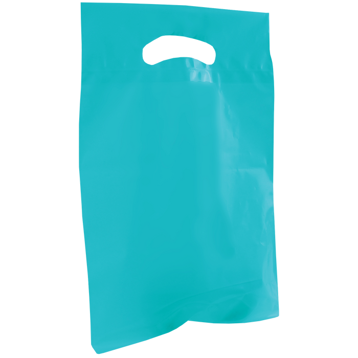 Teal Small Recyclable Die Cut Plastic Bag
