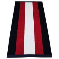 Red / Navy Hampton Striped Beach Towel Thumb