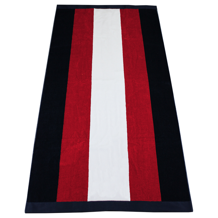 Red / Navy Hampton Striped Beach Towel