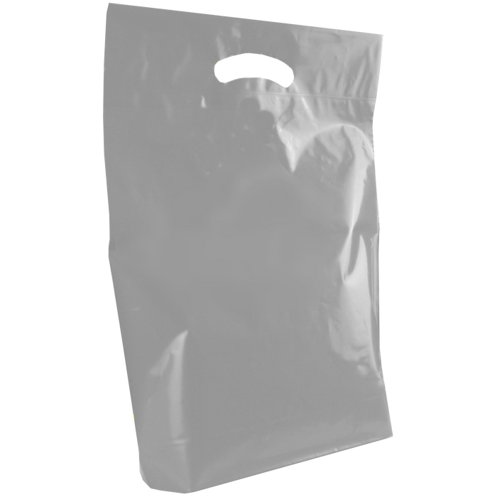 Gray Medium Die Cut Plastic Bag