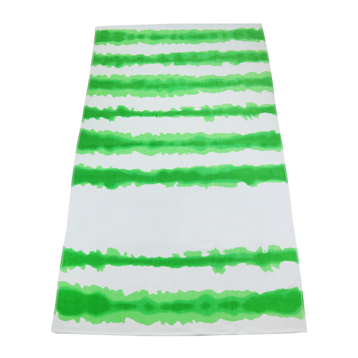 Lime Green Tie-Dye Striped Beach Towel