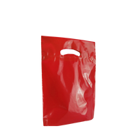 Red Small Eco-Friendly Die Cut Plastic Bag Thumb