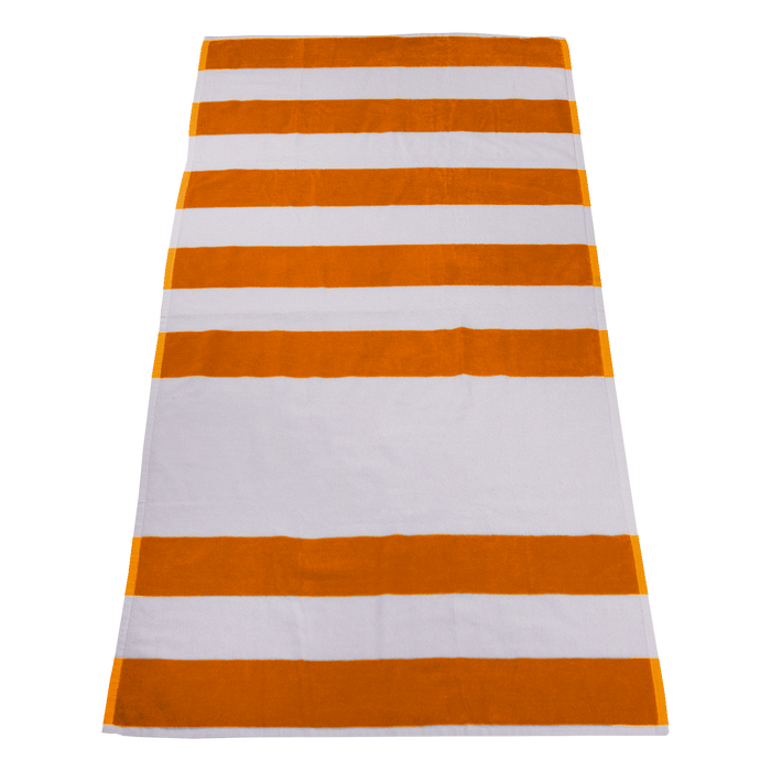 Orange Horizon Striped Beach Towel