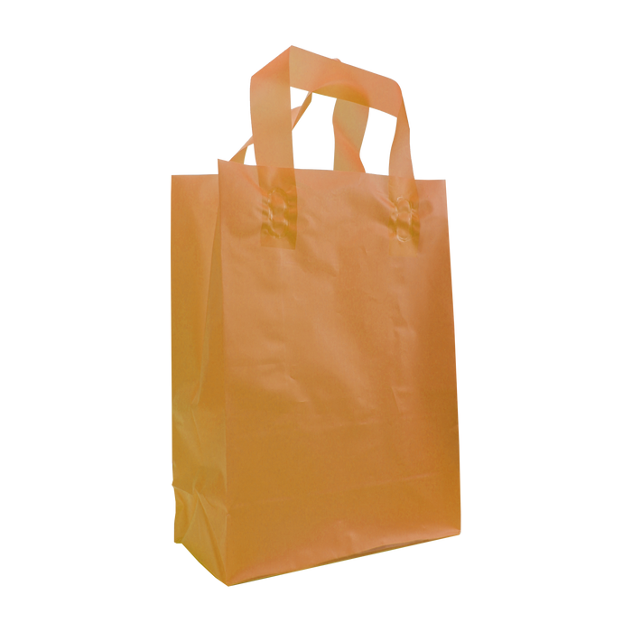 Tangerine Small Frosted Plastic Shopper