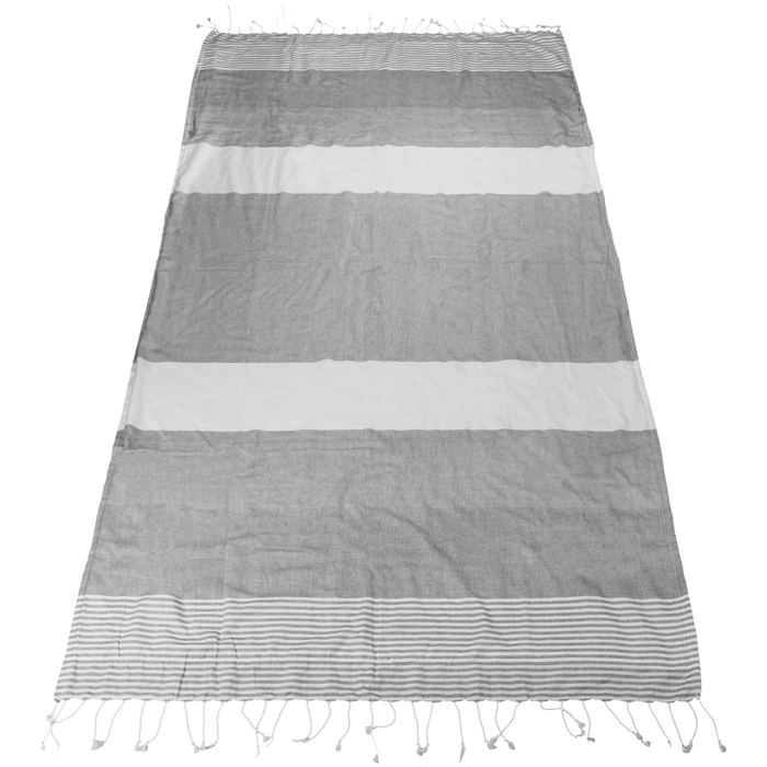 Grey Santorini Fringe Beach Towel