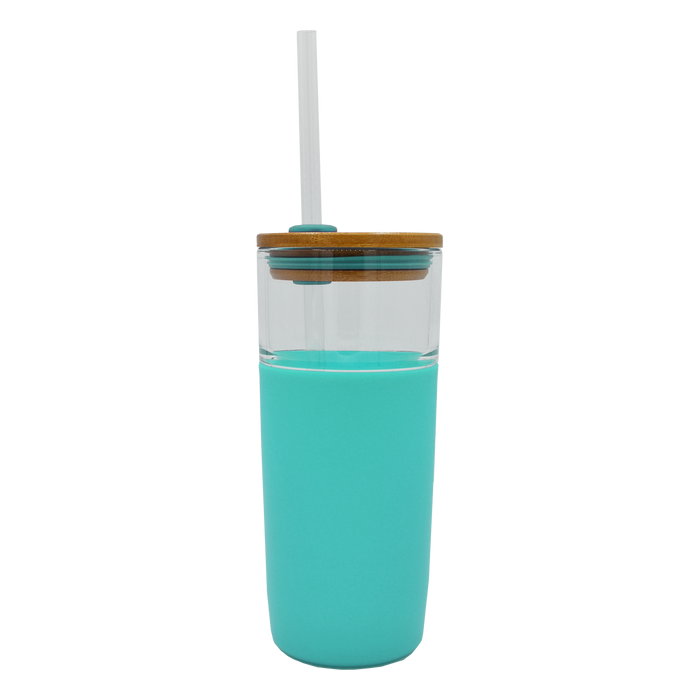 Mint Glass Tumbler with Straw