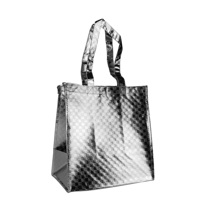 Metallic Silver Metallic Designer Little Storm Grocery Bag
