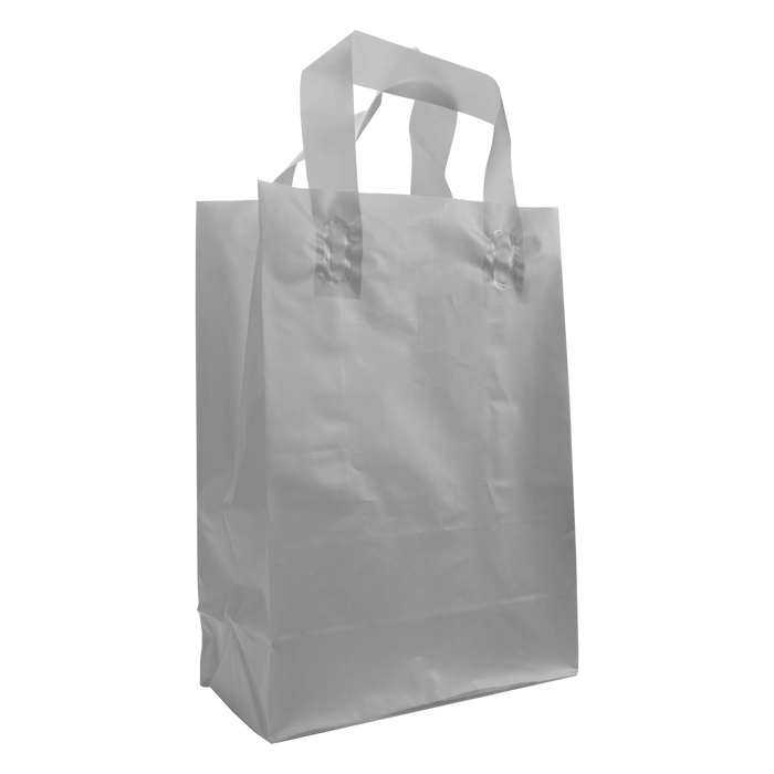 Silver Medium Frosted Plastic Shopper