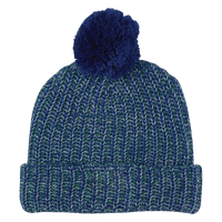 Blue and White Knit Knit Pom Beanie Thumb