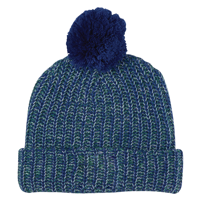 Blue and White Knit Knit Pom Beanie