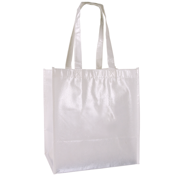 White Laminated Little Storm Grocery Bag