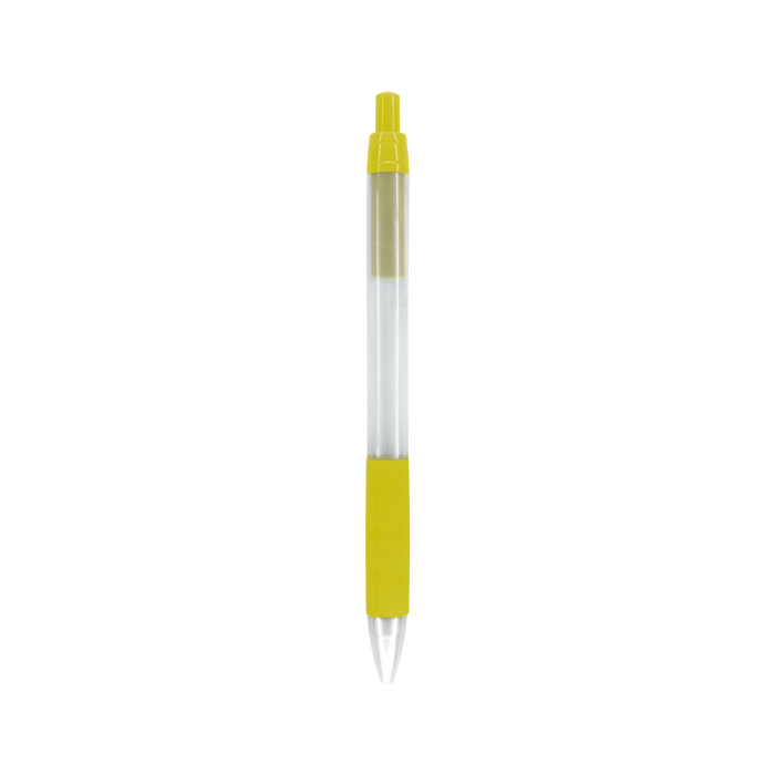 Yellow with Black Ink Frosted Barrel Pen