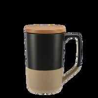 Black Ceramic Mug with Wood Lid Thumb