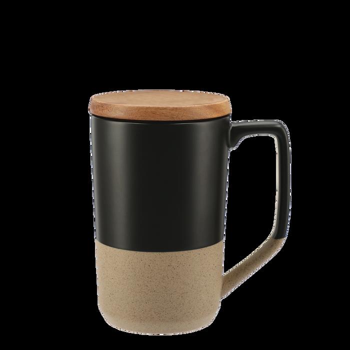 Black Ceramic Mug with Wood Lid