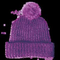 Purple Knit Pom Beanie Thumb