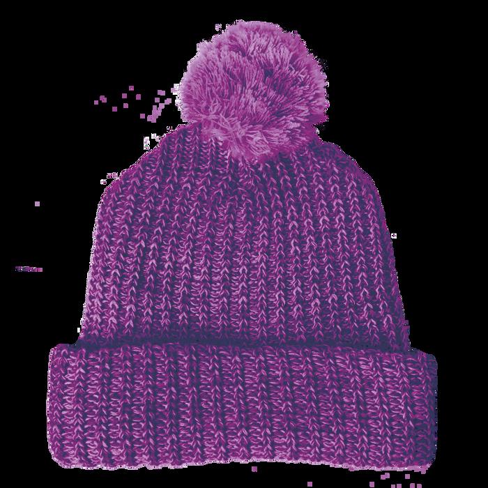 Purple Knit Pom Beanie
