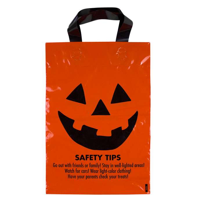 Orange Jack-O-Lantern Safety Tips Bag