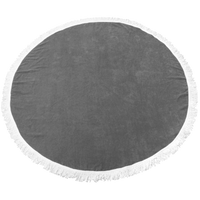 Grey Fringed Color Round Beach Towel Thumb