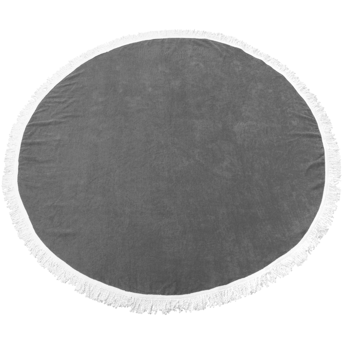 Grey Fringed Color Round Beach Towel