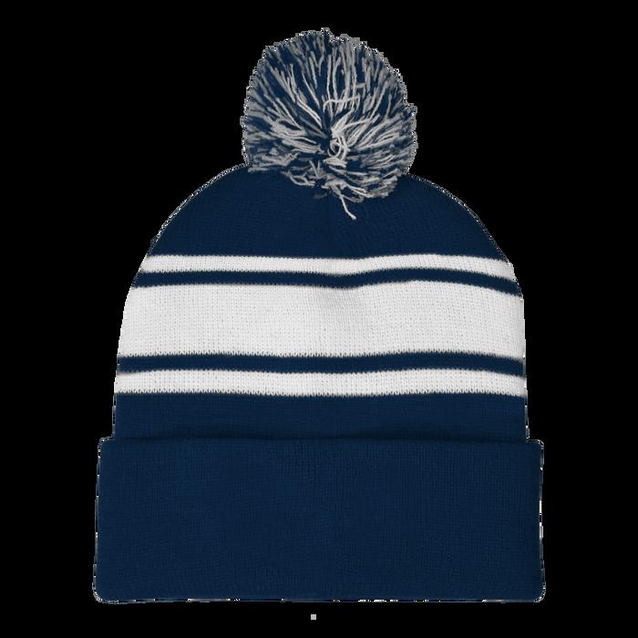 Navy Striped Winter Beanie