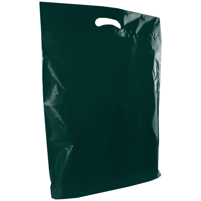 Hunter Green Large Die Cut Plastic Bag