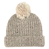 Natural and Black Knit Knit Pom Beanie Thumb