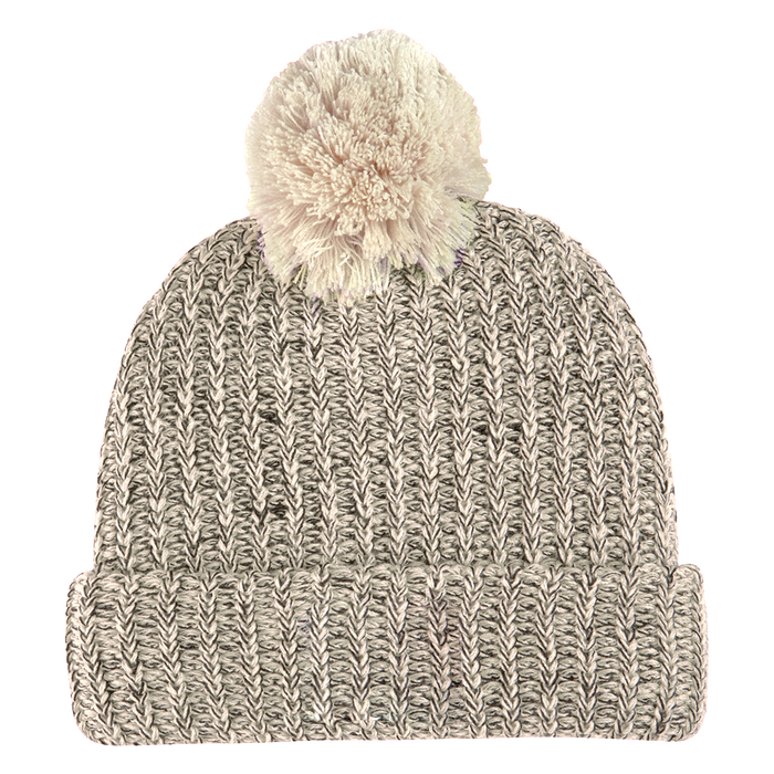 Natural and Black Knit Knit Pom Beanie