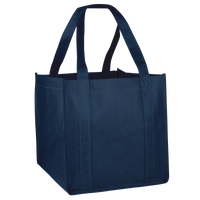 Navy Blue Cube Grocery Tote Thumb