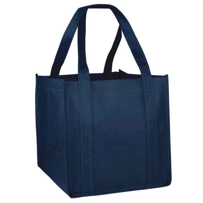 Navy Blue Cube Grocery Tote