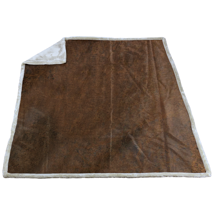 Vintage (20195) Rustic Faux Leather Throw