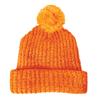 Orange Knit Pom Beanie Thumb