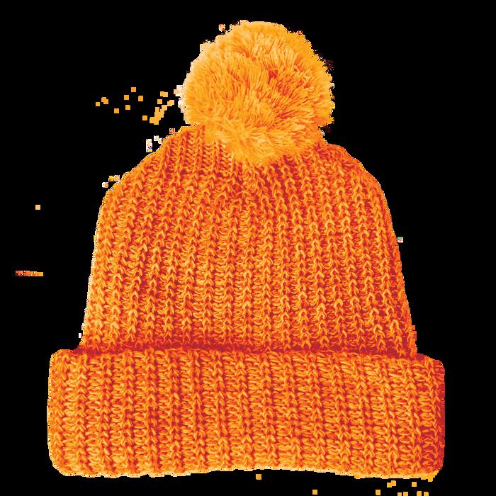 Orange Knit Pom Beanie