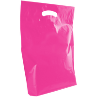 Pink Medium Die Cut Plastic Bag Thumb