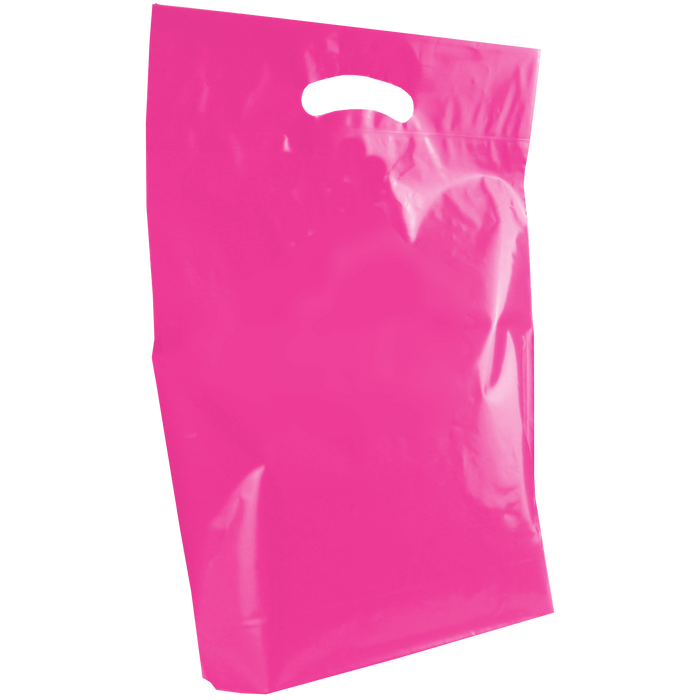 Pink Medium Die Cut Plastic Bag