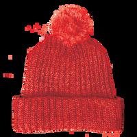 Red Knit Pom Beanie Thumb