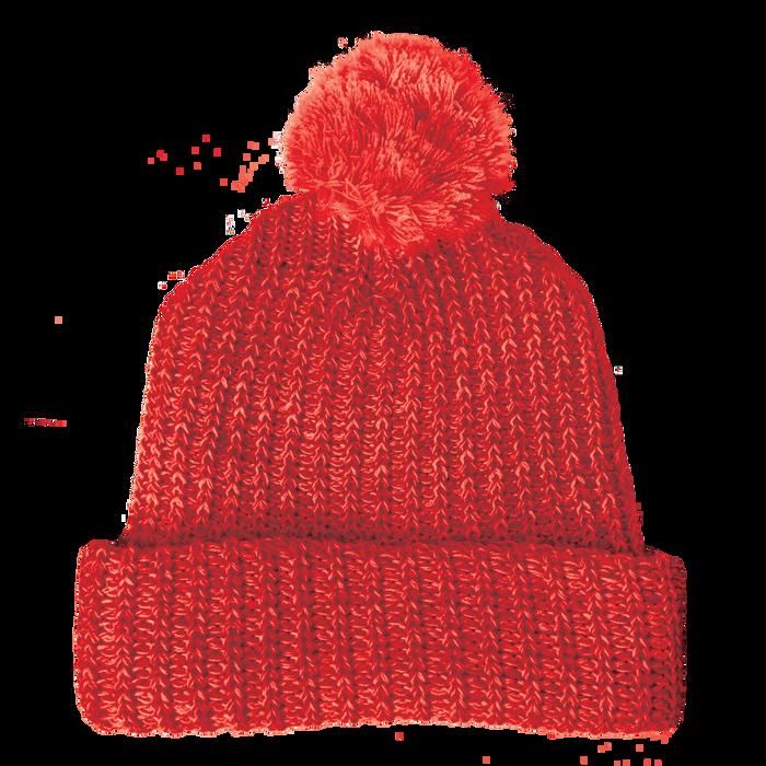 Red Knit Pom Beanie