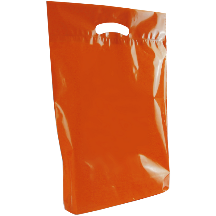 Orange Medium Eco-Friendly Die Cut Plastic Bag