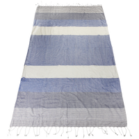 Blue Santorini Fringe Beach Towel Thumb