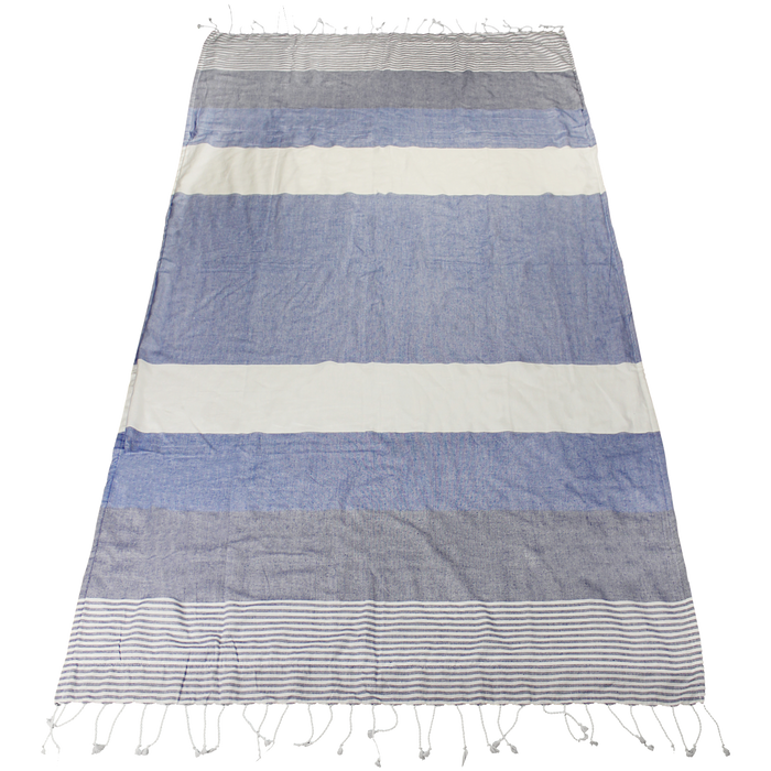 Blue Santorini Fringe Beach Towel