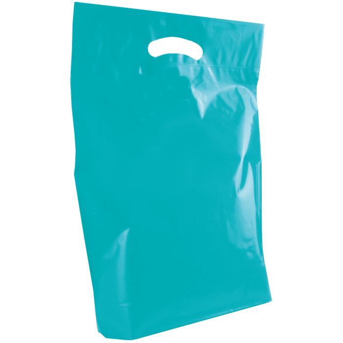 Teal Medium Die Cut Plastic Bag