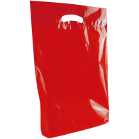 Red Medium Eco-Friendly Die Cut Plastic Bag Thumb