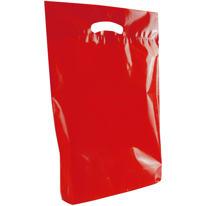Red Medium Eco-Friendly Die Cut Plastic Bag