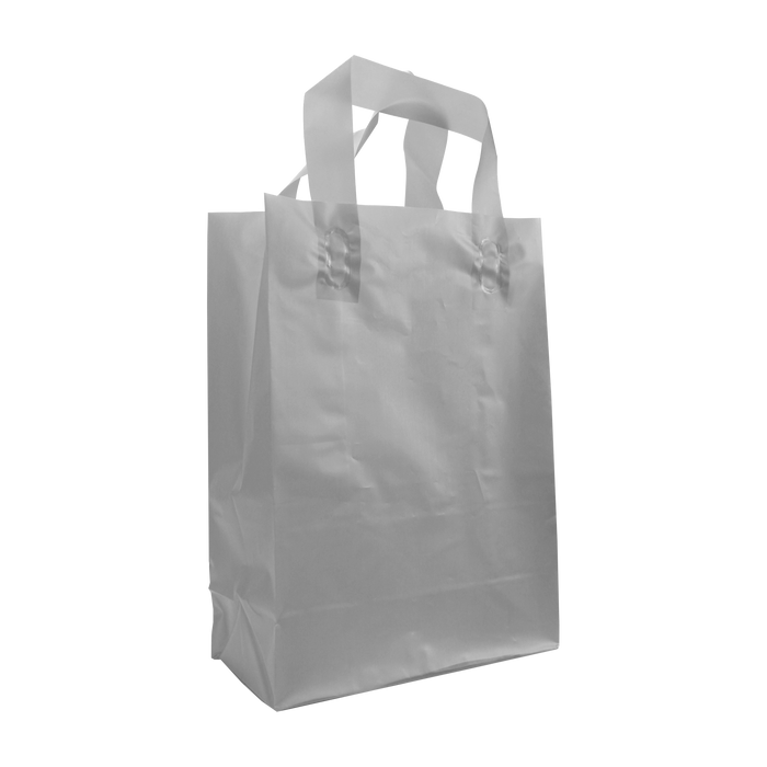 Silver Small Frosted Plastic Shopper