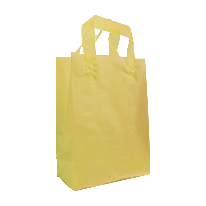Yellow Small Frosted Plastic Shopper