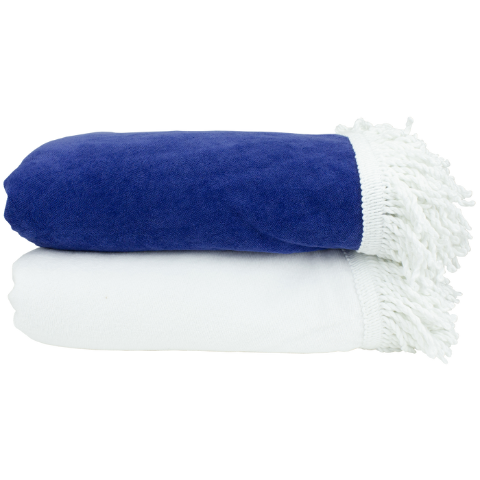 Fringed White Round Beach Towel