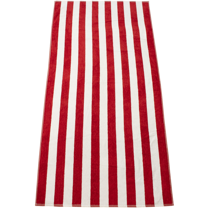 Red Latitude Plus Striped Beach Towel