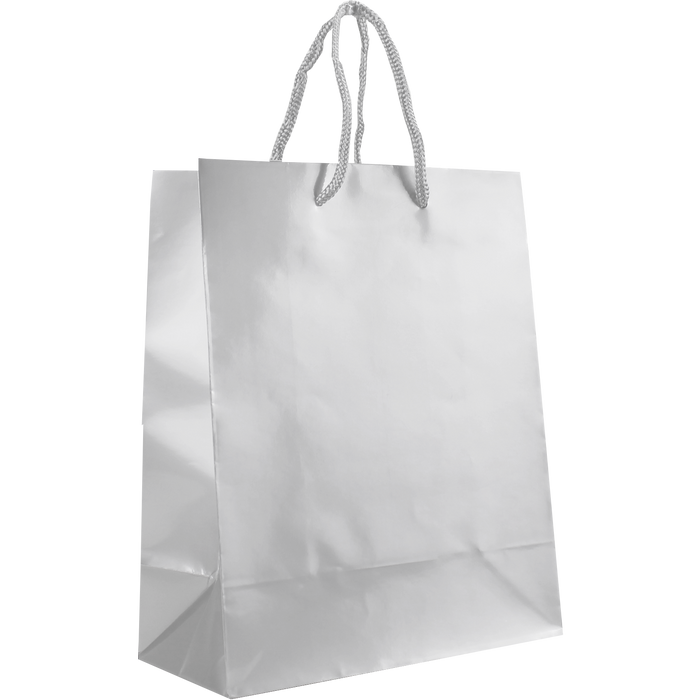 White Small Glossy Shopper Bag