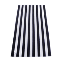 Black Latitude Striped Beach Towel Thumb