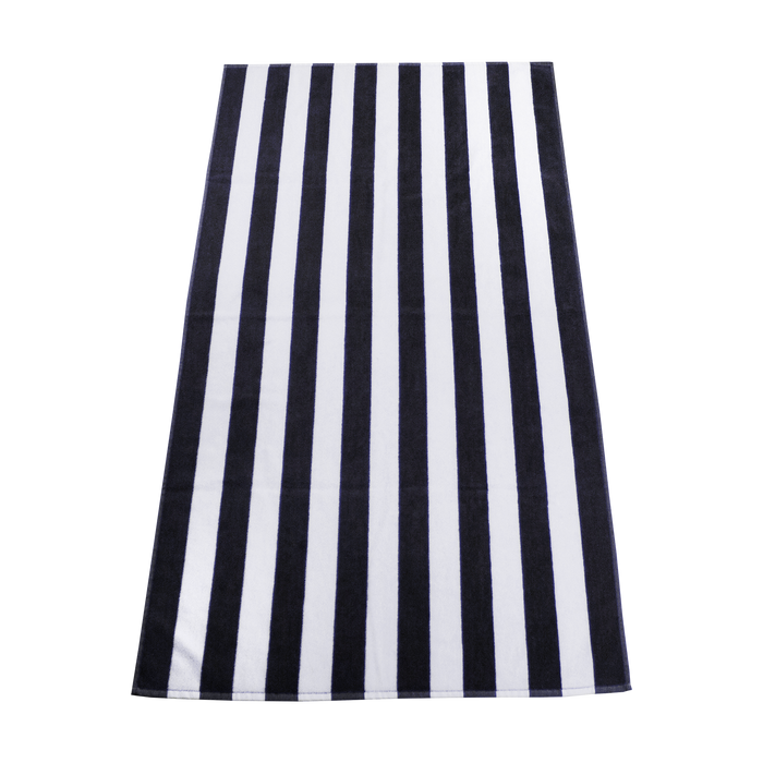 Black Latitude Striped Beach Towel