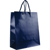 Navy Blue Small Glossy Shopper Bag Thumb